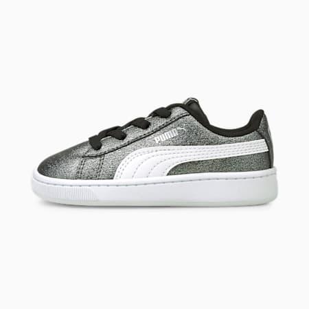 Zapatos PUMA Vikky v2Glitz2 para bebés, Puma Silver-Puma White-Puma Black, pequeño