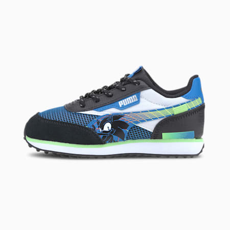 PUMA x SEGA Future Rider Kids' Trainers, Palace Blue-Puma Black, small-SEA