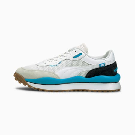 Style Rider Warm Texture Trainers, White-Atomic Blue-Vapo Gray, small