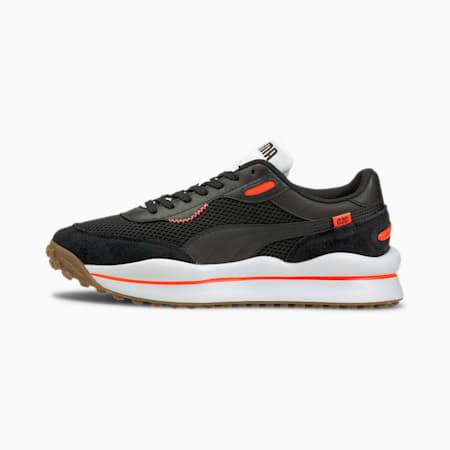 Style Rider Warm Texture Sneaker, Black-Lava Blast-Puma White, small