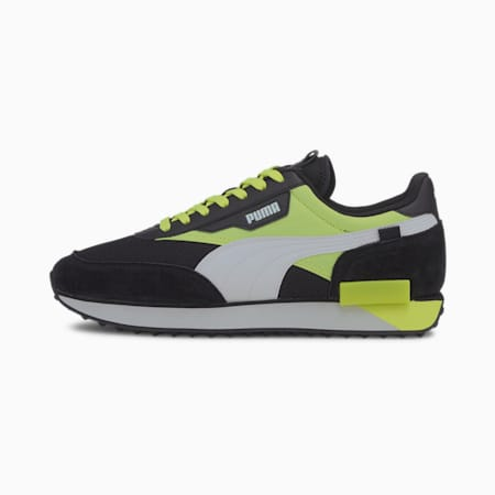 Future Rider Neon Play Trainers, Puma Black-Fizzy Yellow, small