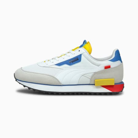 Future Rider Neon Play Shoes, Puma White-Maize, small-IND