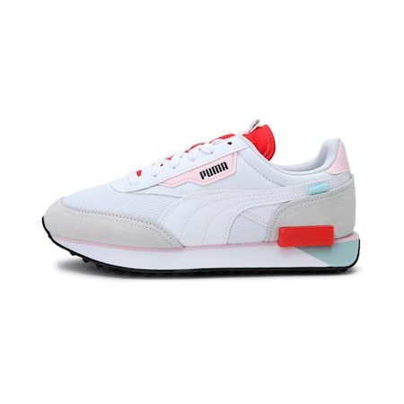 Future Rider Neon Play Shoes, Puma White-Poppy Red, small-IND