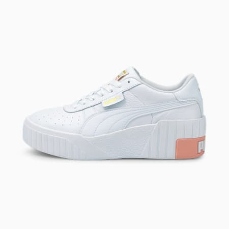 Cali Wedge Women's Trainers, Puma White-Apricot Blush, small
