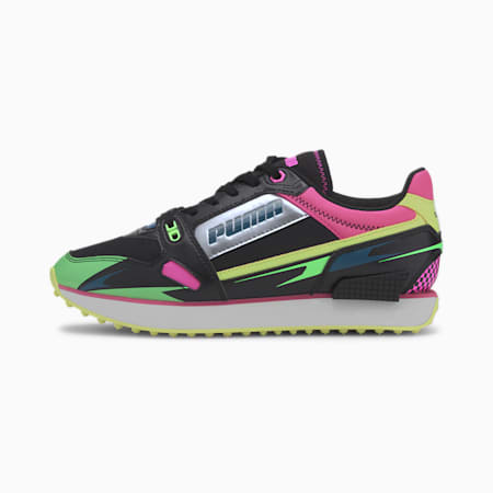 Mile Rider Sunny Getaway Women's Sneakers, Puma Black-Elektro Green, small