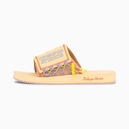PUMA x KIDSUPER STUDIOS PUMA Wilo Slides, Mellow Yellow-Peach Beige, small