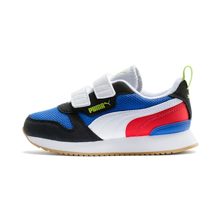 R78 Kids' Trainers, Palace Blue-Black-White, small