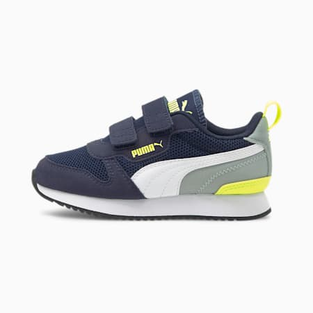 R78 Kids' Trainers, Peacoat-Yellow Alert, small