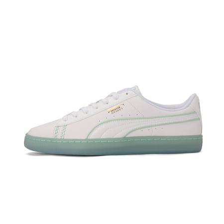 PUMA x one8 Virat Kohli Basket Classic Sneakers, White-Team Gold-Mist Green, small-IND