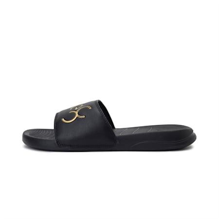 PUMA x one8 Virat Kohli Popcat 20 Sandals, Puma Black-Puma Team Gold, small-IND