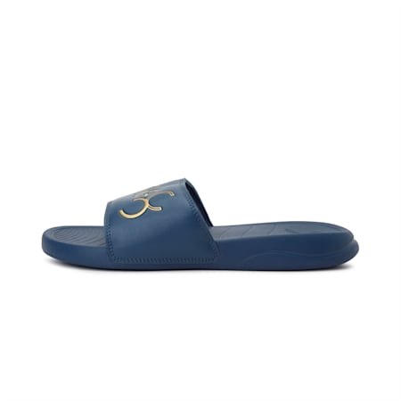 PUMA x one8 Virat Kohli Popcat 20 Sandals, Dark Denim-Puma Team Gold, small-IND