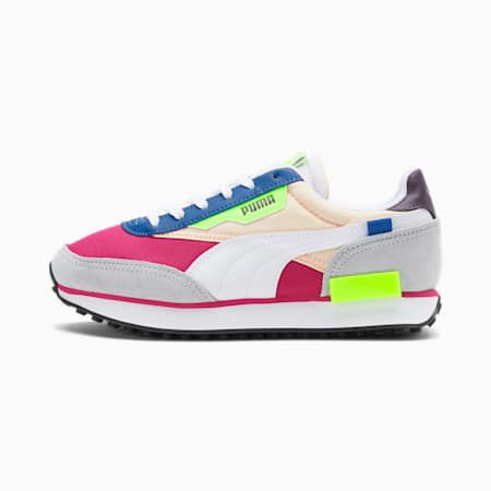 Zapatos deportivos Future Rider Play On para mujer, Beetroot Purple-Puma White-Glacial Blue, pequeño