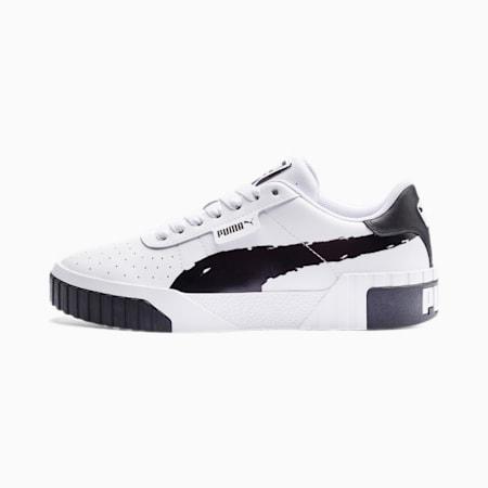 Zapatos deportivos Cali con efecto cepillado para mujer, Puma Black-Puma White, pequeño