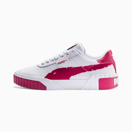 Cali Brushed Women's Trainers, Puma White-CERISE, small