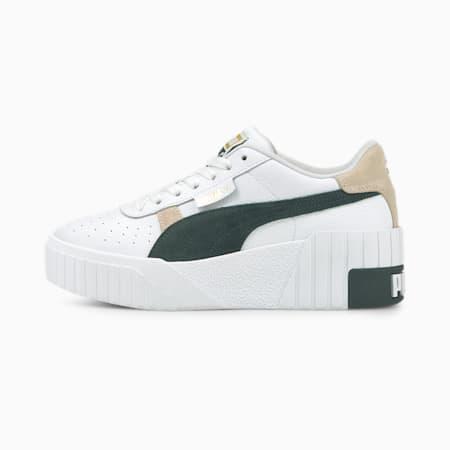 Zapatos deportivos Cali Wedge Mix para mujer, Puma White-Green Gables-Peyote, pequeño
