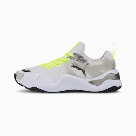 Rise Mixed Metallic Women's Trainers, Puma White-Fizzy Yellow, small-GBR