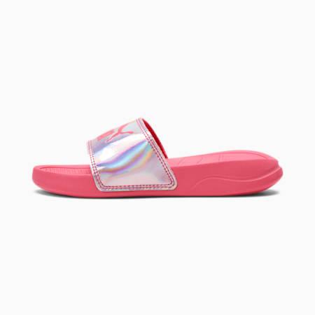 Popcat 20 Iridescent Little Kids' Slides, Bubblegum-Puma Silver, small
