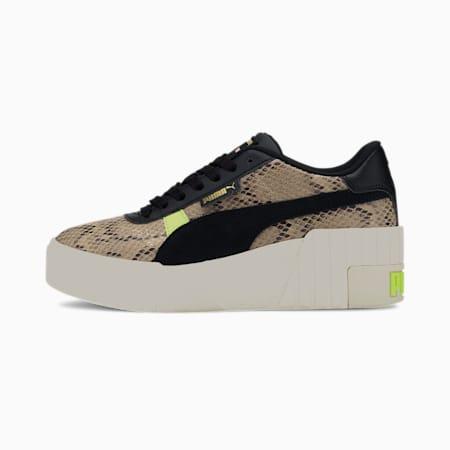 Cali Wedge Snake Women's Sneakers, Pale Khaki-Puma Black, small