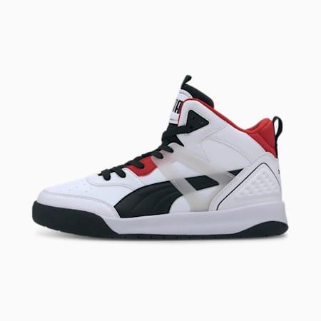Zapatos deportivos de caña media PUMA Backcourt para hombre, Puma White-Puma Black-High Risk Red-Puma Silver, pequeño