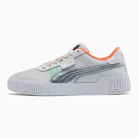 Zapatos deportivos Cali Bold Clear para mujer, Puma White-Puma Silver, pequeño