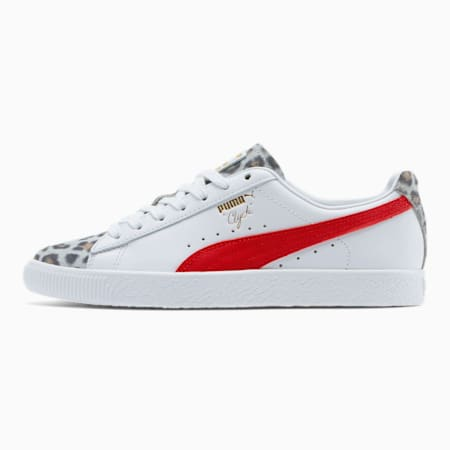 Clyde Leopard Women's Sneakers, Puma White-High Risk Red, small