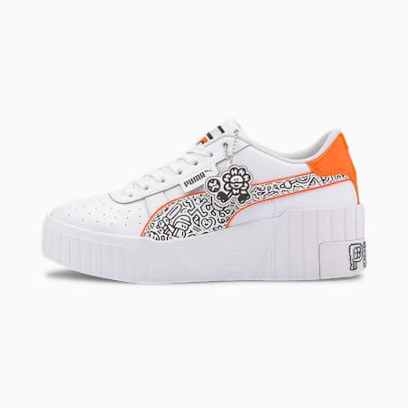 PUMA x MR DOODLE Cali Wedge Women's Sneakers, Puma White-Black-Dragon Fire, small