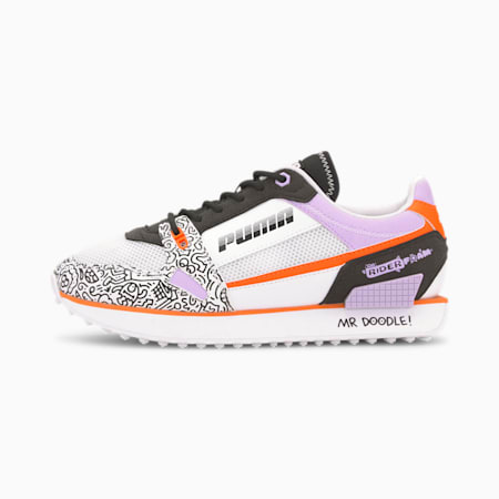 PUMA x MR DOODLE Mile Rider Women's Sneakers, Puma White-Black-Dragon Fire, small