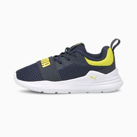 Wired Run Babies' Trainers, Peacoat-Sulphur Spring, small