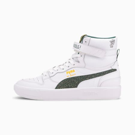 PUMA x MR DOODLE Sky LX Mid Top Trainer, Puma White-Posy Green-Black, small
