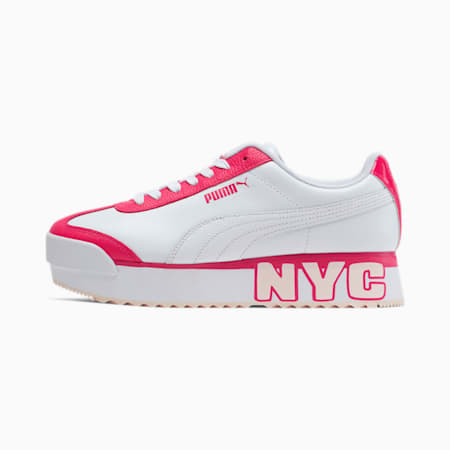 Roma Amor Logo NYC Women's Sneakers, Wht-BRIGHT ROSE-Rosewater, small