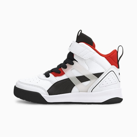 Backcourt Mid AC SoftFoam+ Kids' Shoes, White-Black- Red-Silver, small-IND
