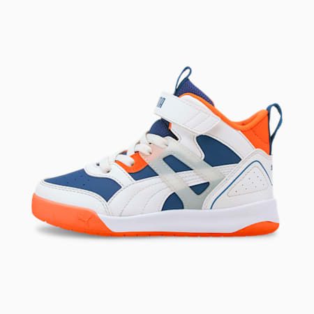 PUMA Backcourt Mid Little Kids' Shoes, Limoges-White-Orange-Silver, small