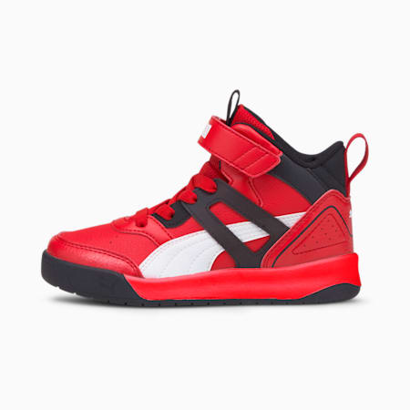PUMA Backcourt Mid AC SoftFoam+ Kids' Shoes, High Risk Red-White-Black, small-IND