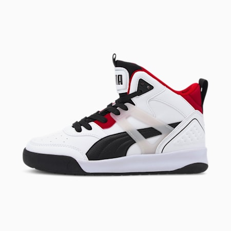 PUMA Backcourt Mid SoftFoam+ Kid's Shoes, Puma White-Puma Black-High Risk Red-Puma Silver, small-IND