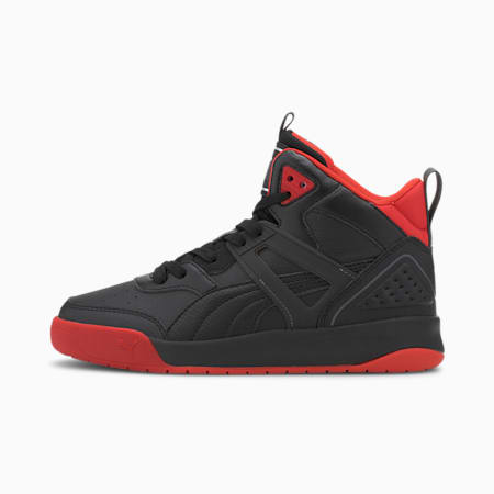 PUMA Backcourt Mid SoftFoam+ Kid's Shoes, Puma Black-Puma Black-High Risk Red-Dark Shadow-Puma Silver, small-IND