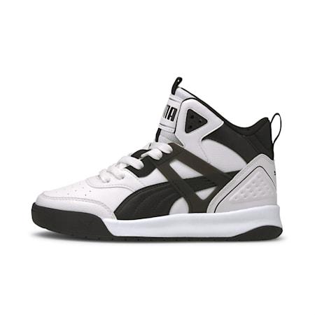 PUMA Backcourt Mid SoftFoam+ Kid's Shoes, Puma White-Puma White-Black, small-IND