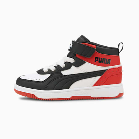 PUMA Rebound Joy Little Kids' Shoes, White-Black-High Risk Red, small