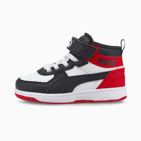 PUMA Rebound Joy Toddler Shoes, White-Black-High Risk Red, small