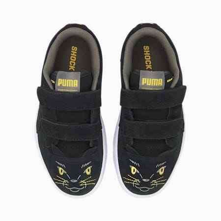 Ralph Sampson Animals Kids' Trainers, Puma Black-Super Lemon, small