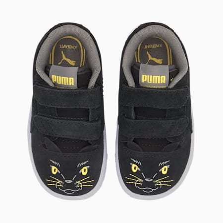 Ralph Sampson Animals V Babies' Trainers, Puma Black-Super Lemon, small