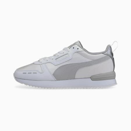 R78 Metallic Women's Trainers, White-Gray -Puma Silver, small-GBR