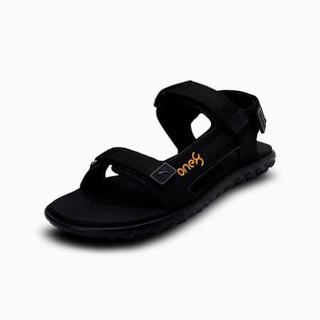 PUMA x one8 Stride IDP Sandals, Puma Black-Saffron, small-IND