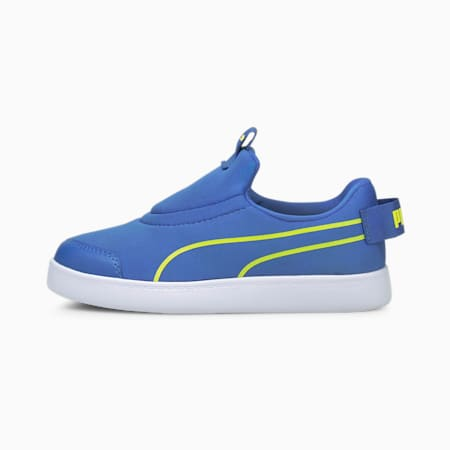Courtflex v2 Slip-On Kids' Trainers, Star Sapphire-Nrgy Yellow, small