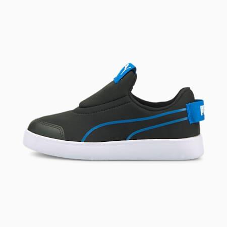 Courtflex v2 Slip-On Kids' Trainers, Puma Black-Future Blue, small