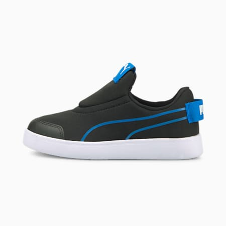 Courtflex v2 Slip-On Kids' Trainers, Puma Black-Future Blue, small-SEA