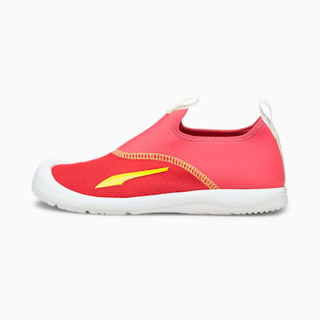 Aquacat Shield Kids' Sandals, Sun Kissed Coral-Celandine, small-GBR