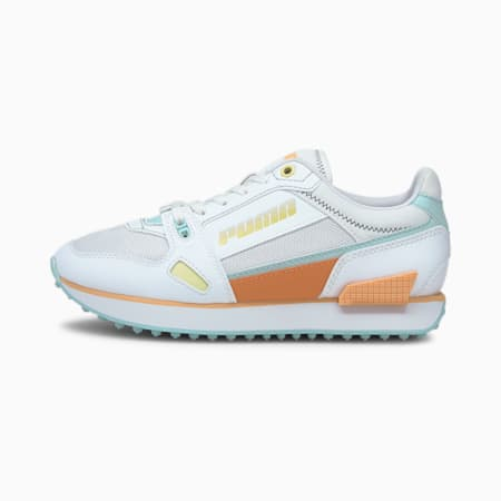 Mile Rider Pastel Mix Women's Shoes, Puma White-Blue Glow-Peach C, small-IND