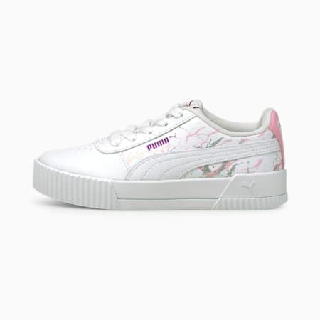 Dziecięce buty sportowe Carina Marble Glitter, Puma White-Puma White, small
