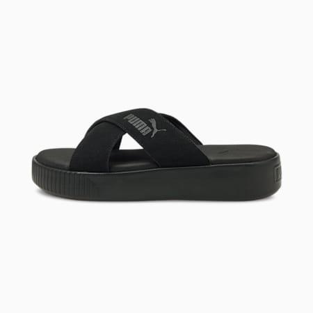 Sandales plateforme en suede, femme, Puma Black, petit