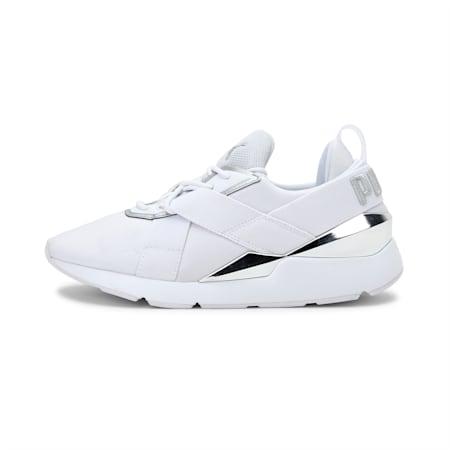 Muse X3 Metallic Women's Shoes, Puma White-Puma White, small-IND
